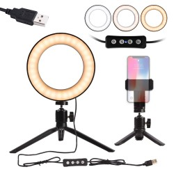 "Photographic Lighting Dimmable Camera 6 ""Selfie Ring Light"