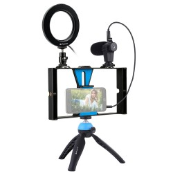 Selfie Shooting Ring Light with Cell Tripod Phone Stand Microphone Stand